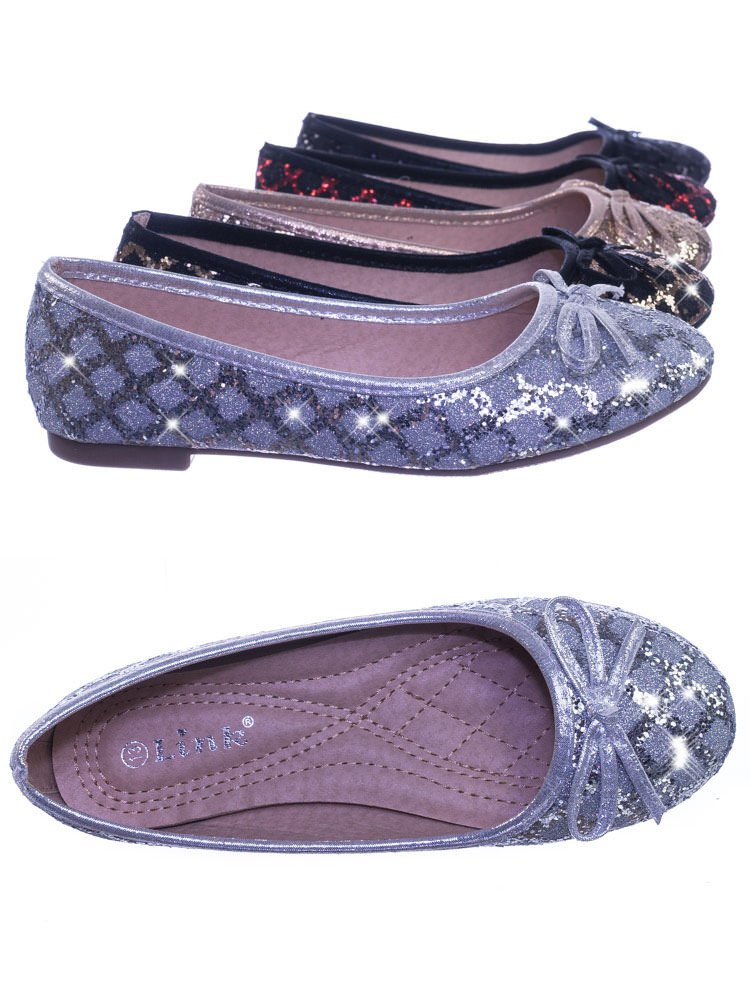 Link Children Girls Fancy Round Toe Ballet Flat w Criss Cross Glitter