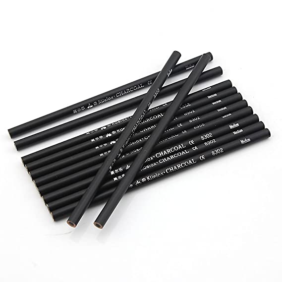 Owfeel A Set of 12PCS Professional Manga Non-wood Woodless Sketch Drawing Charcoal Pencil Black Hard