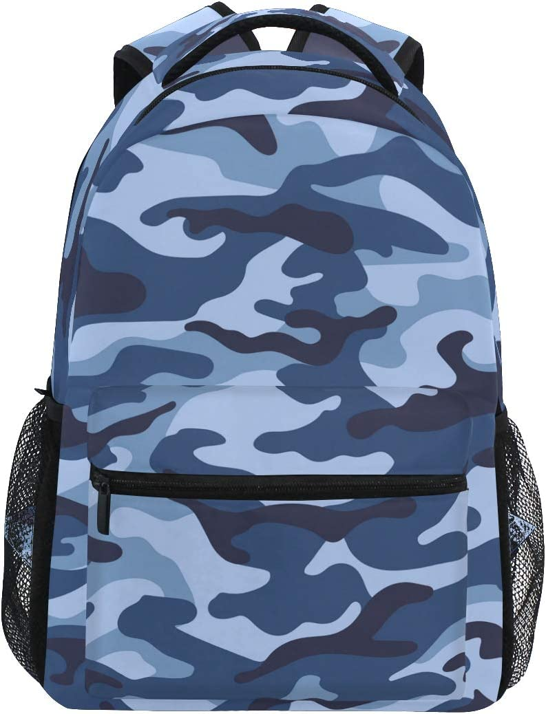 ALAZA Military Camouflage Blue Color Large Backpack Personalized Laptop iPad Tablet Travel School Bag with Multiple Pockets