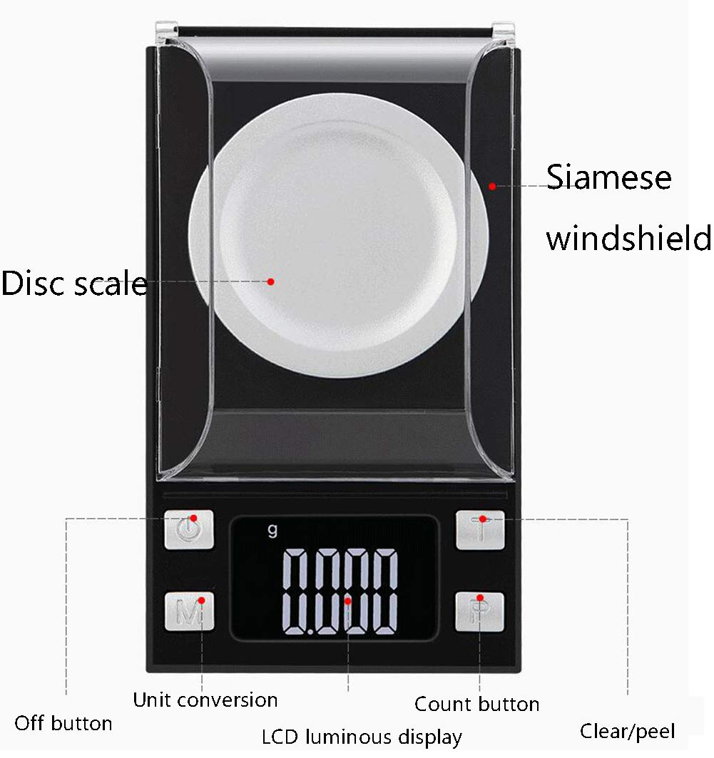 0.001G Precision Balance Jewelry Weighing Balance With Back Lit Lcd Display Analytical Balance Scale Black