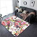 Vanfan Design Home Decorative 250030006 Floral Vintage Seamless Watercolor Background with Bird Watercolor illustration Peonies Mimosa Roses Hyacinths Wildflowers Modern Non-Slip Doormats Carpet for