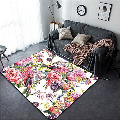 Vanfan Design Home Decorative 250030006 Floral Vintage Seamless Watercolor Background with Bird Watercolor illustration Peonies Mimosa Roses Hyacinths Wildflowers Modern Non-Slip Doormats Carpet - Ironman Wildflower