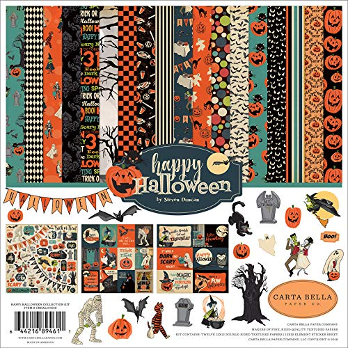 Halloween Scrapbooking Paper (Carta Bella Paper Company CBHAL104016 Happy Halloween Collection Kit Paper, Orange, Black, Blue,)