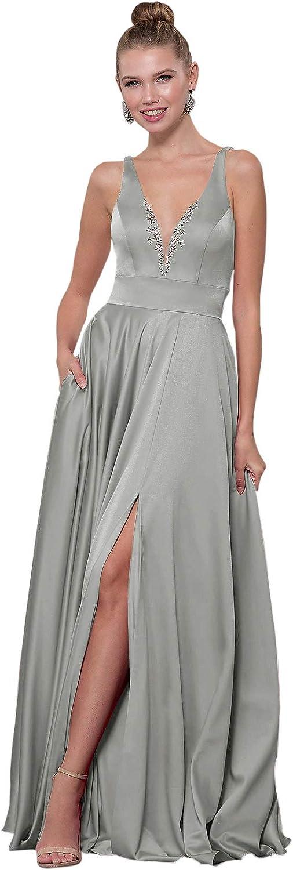 Zhongde Womens Side Slit V Neck Beaded Satin Prom Dress Long Formal Evening Gown with Pockets