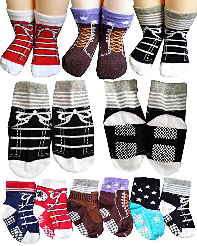 Price comparison product image BSLINO Non-Skid Gripper Assorted 6 Pairs 12-24 Months Baby Boy Toddler Socks Anti Slip Stretch Knit Grips Cotton Shoe Socks Slippers + Thank you Card (Multicolor)