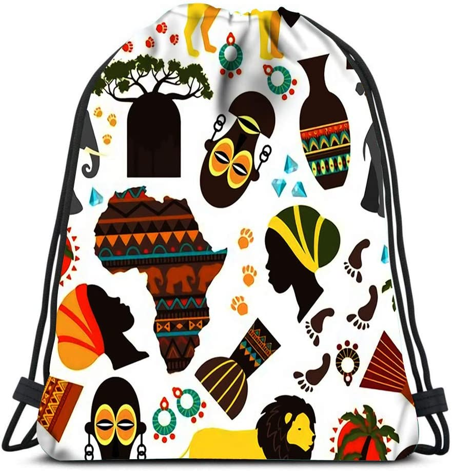Backpack Drawstring Bag Africa Baobab And Nationality Tribe Mask Aborigine Track Fauna Flora Elepha Sports Gym Bag