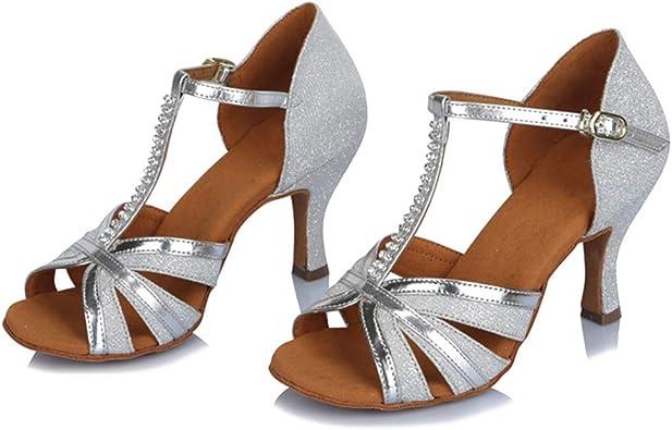 YKXLM Femme/&Fille Chaussons de Danse Latine Standard Salle de Bal Chaussures,Maquette FR805