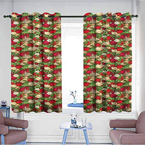 (HOMEDD Thermal Insulating Blackout Curtains,Christmas Tree Branches Balls Bells Cones Poinsettia Flowers Mistletoe Berry,Curtains for Living Room,W55x72L Gold White Red and Green)