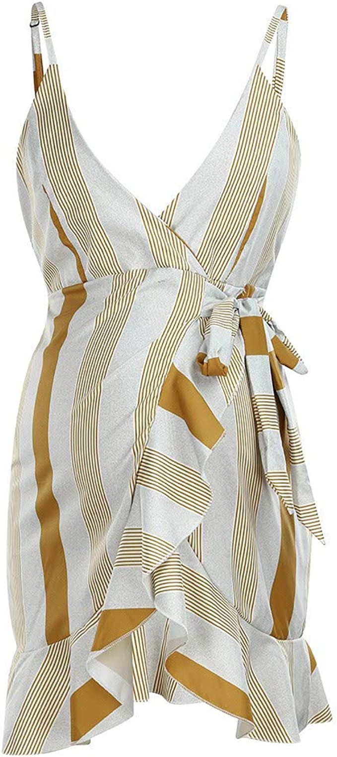 PinkLu Vestido Mujer Vestido Premama Blanco Amarilla Rayas V- Cuello sin Mangas Mujer Maternidad(S-XXL): Amazon.es: Ropa y accesorios
