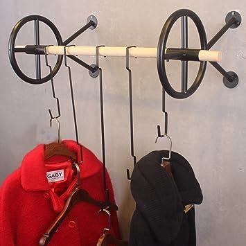 QiangDa Montado En La Pared Perchero De Hierro Forma De Rueda Casa Tienda De Ropa Estilo Industrial Vintage, 3 Colores, 4 Tamaños (Color : 3#, ...