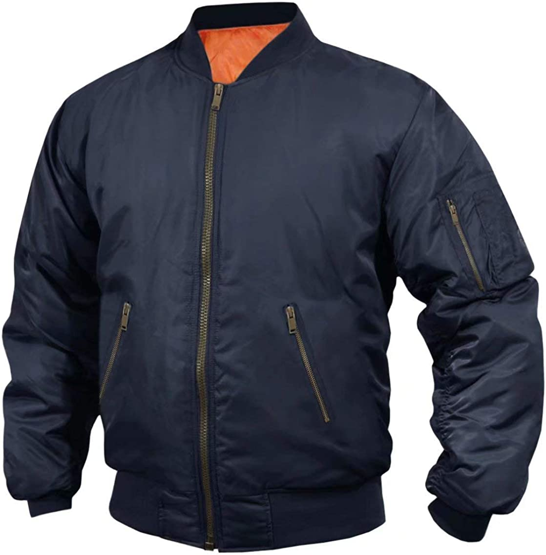 Ski Jacket Men Thick Lightweight Bomber Jacket Pilot College Jogging Windbreaker Softshell Outwear Navy at  Men's Clothing store