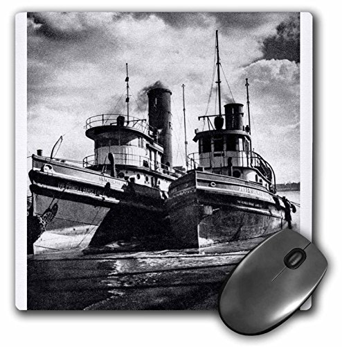 (3dRose Scenes from the Past Antique Images - Twin Tugs Grayscale - MousePad (mp_6815_1))