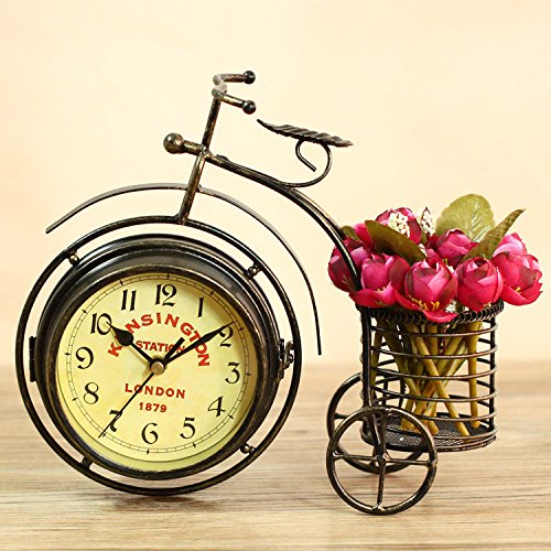 Berry President® Generic Vintage Metal Rustic Bicycle Clock Bike Shaped Double Side Table Decorative Clock for Home Decor with Basket