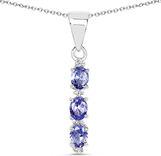 Silver Pendant with Cubic Zirconia Tanzanite CZ Pendant Height 7 mm Sterling