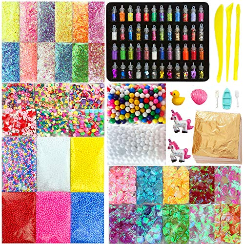 Miukada 112pcs Slime Supplies,Slime Making kits,Slime Charms Include Foam beads,Gold Leaf,Glitter,Fruit Slices,Sugar Paper,Shell,Slime tool and Unicorn for Slime DIY,Slime Decorations,Girl Slime Party ()