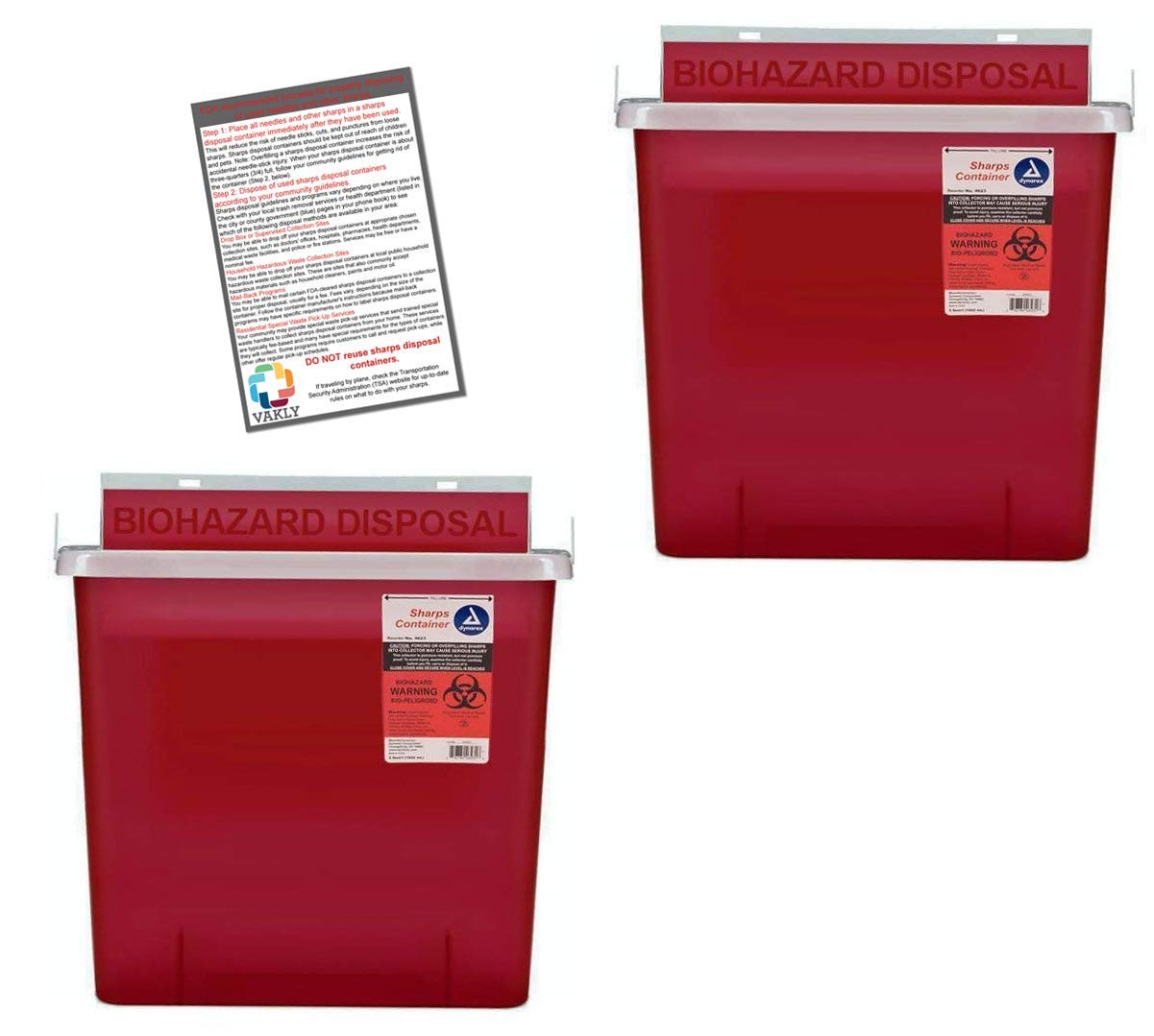 Sharps Container 5 Quart with Mailbox Style Lid - Plus Vakly Biohazard Disposal Guide (2 Pack)