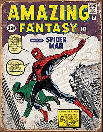 Shop72 Tin Sign Marvell Comic Series Spiderman Super Hero Metal Tin Sign Retro Vintage - With Sticky Stripes . No Damage to Walls