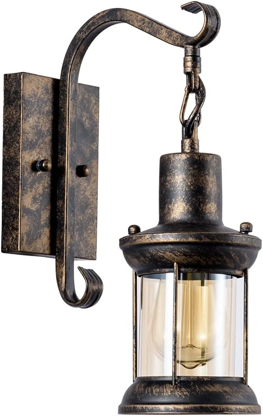 Vintage Wall Light Industrial Lighting Retro Metal Wall lamp Indoor Home Lights Fixture with Glass Shade Cover Single lamp-Base Painted with Oil Rubbed Bronze Bronze