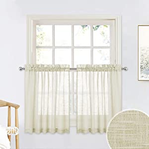 RYB HOME Linen Sheer Valance for Bathroom Windows, Dual Rod Pocket Design Texture Wave Semi-Sheer Privacy Teir Curtains for Nursery/Kitchen, Warm Beige, 52 x 36 inch per Panel, 1 Pair