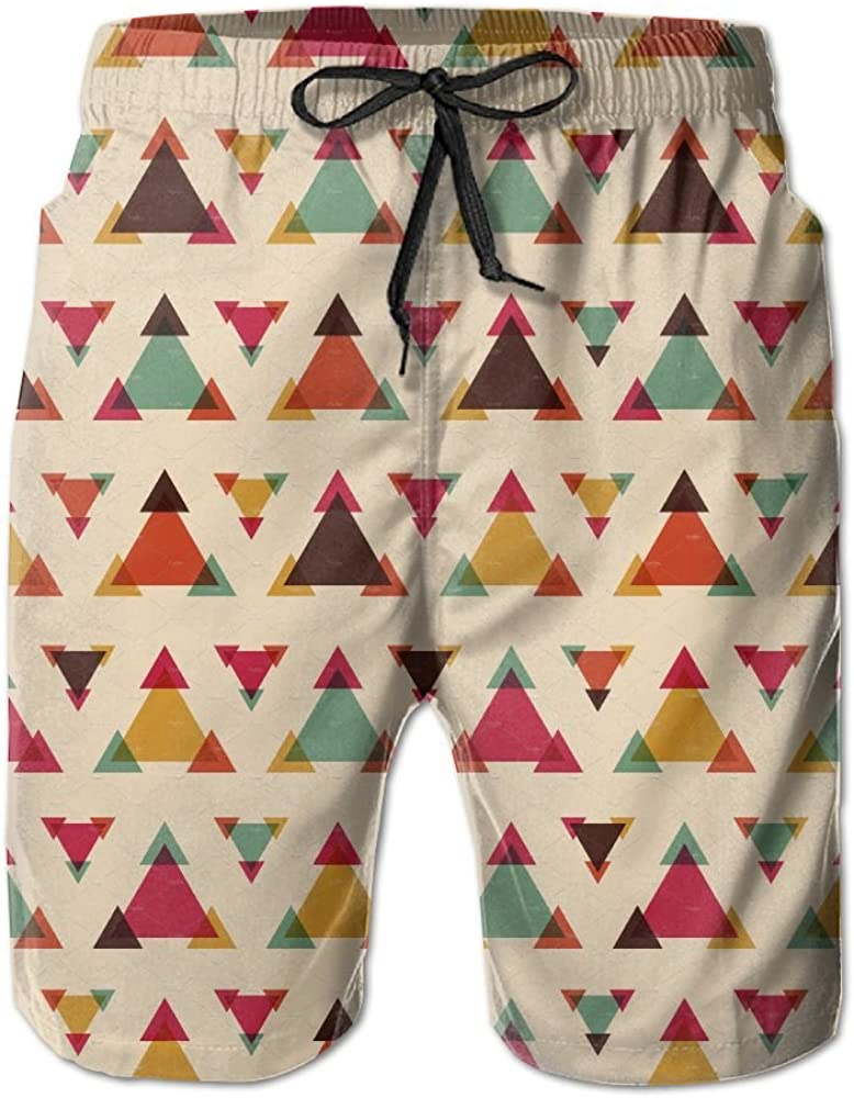 LUASD Mens Seamless Triangle Pattern Quick Drying Breathable Short Pants Swim Trunks