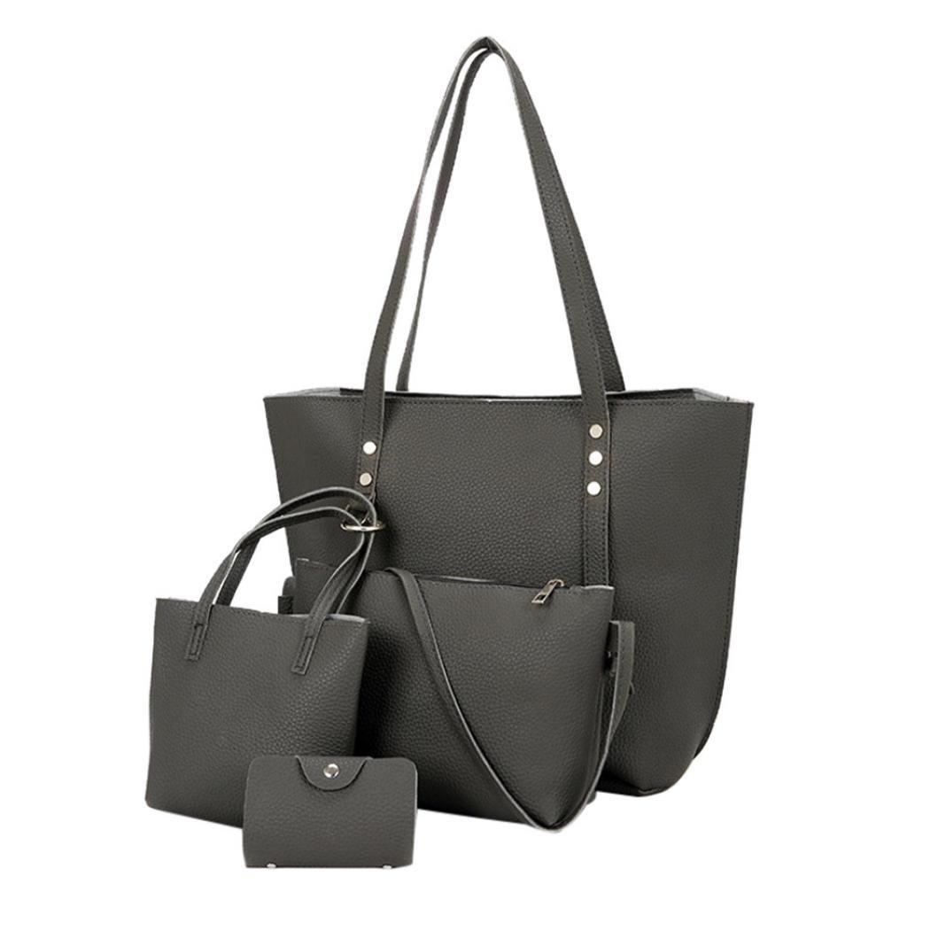 Thenlian 4Pcs Women Pattern Leather Shoulder Bag+Crossbody Bag+Handbag+Wallet (Darkgray) by Thenlian