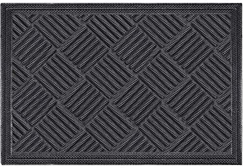 Mibao Durable Rubber Door Mat, 36 x 60 Non Slip Durable Welcome Doormat, Indoor Outdoor Rug, Low-Profile Entrance Large Door Mat for Entry, Garage, Patio, Heavy Duty, Easy Clean, Gray