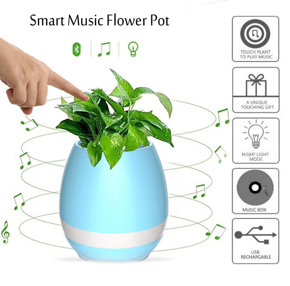 Flowerpot creativo Smart Music, NNIUK riproduzione del pianoforte toccando pianta reale, altoparlante Bluetooth, luci colorate atmosfera per creare un nuovo stile di vita