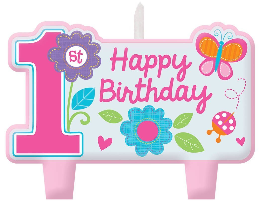 Amscan Sweet Birthday Girl 1st Birthday Candle Set, Small, Pink (2-Pack)