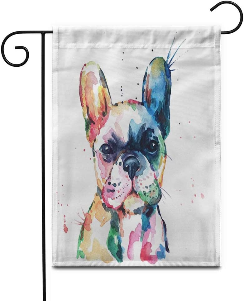 """Awowee 12""""x18"""" Garden Flag Frenchie French Bulldog Original Watercolor of Dog Rainbow Funny Outdoor Home Decor Double Sided Yard Flags Banner for Patio Lawn"""