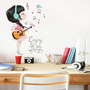 Creative Music Guitar Girl Wall Decals, Personality Home Decor Girl Room Living Room Removable Wall Sticker