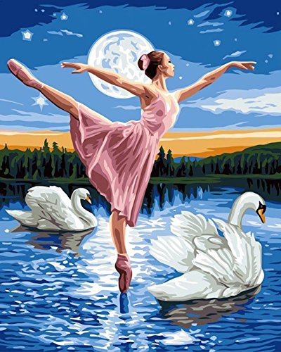 Tonzom Wooden Framed Paint By Number Kits Diy Canvas Oil Painting for Kids, Students, Adults Beginner –Swan and Ballerina 16x20 inch with Brushes and Acrylic Pigment