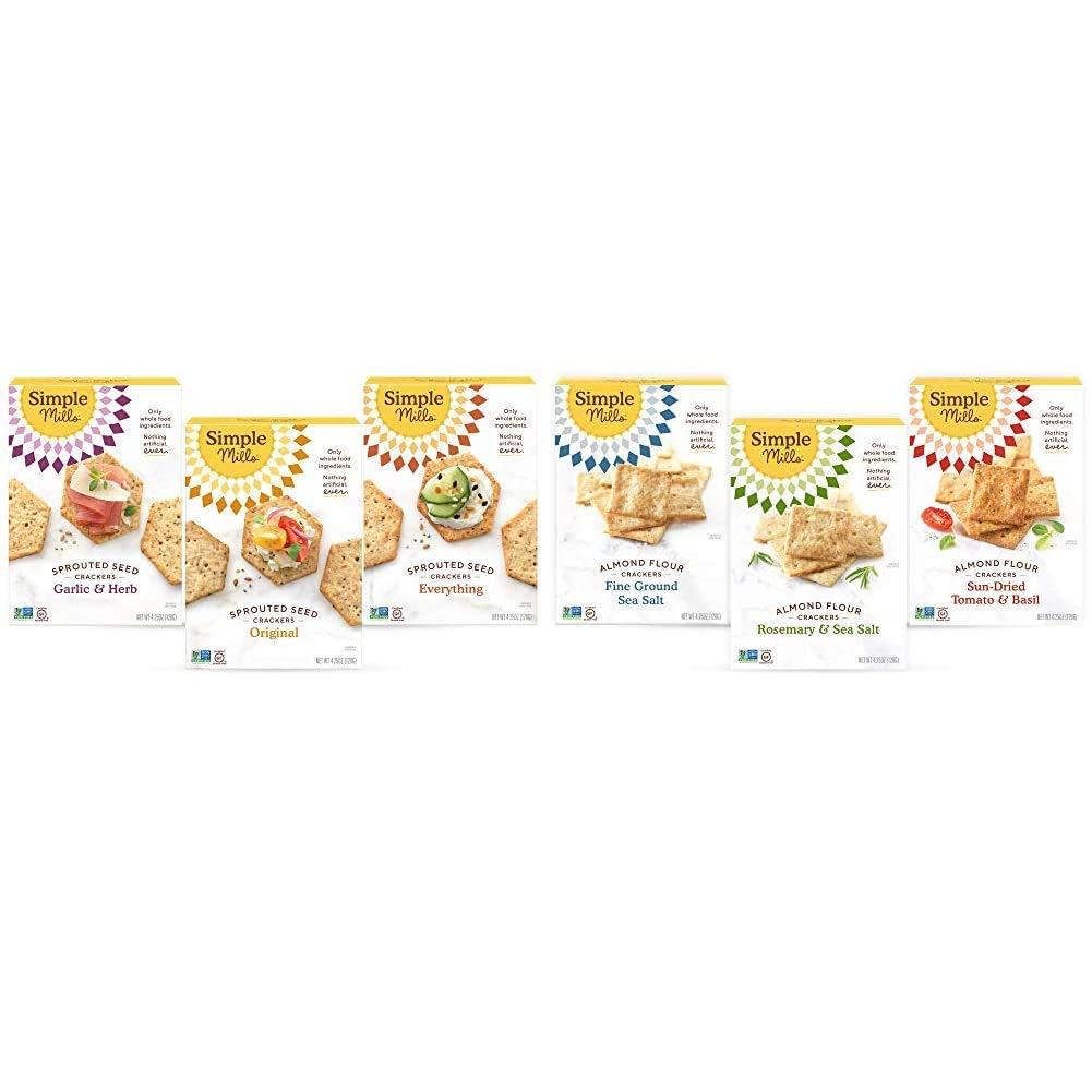 Simple Mills, Snacks Variety Pack, Original, Garlic & Herb, Everything Variety Pack, 3 Count & Snacks Variety Pack, Fine Ground Sea Salt, Rosemary & Sea Salt, Farmhouse Cheddar Variety Pack