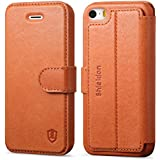 iPhone SE Case, iPhone 5S Case, iPhone 5 Case, SHIELDON® Genuine Leather Wallet Case, Flip Book Style Cover with Stand Function, Cards Slots, Magnetic Clasp Closure for iPhone5S / iPhone5 / iPhone SE, Tan Brown