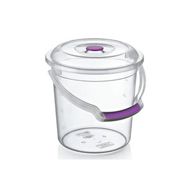 5L AGROHIT Eimer mit Deckel und Trageb/ügel 5//10//15 Liter transparent