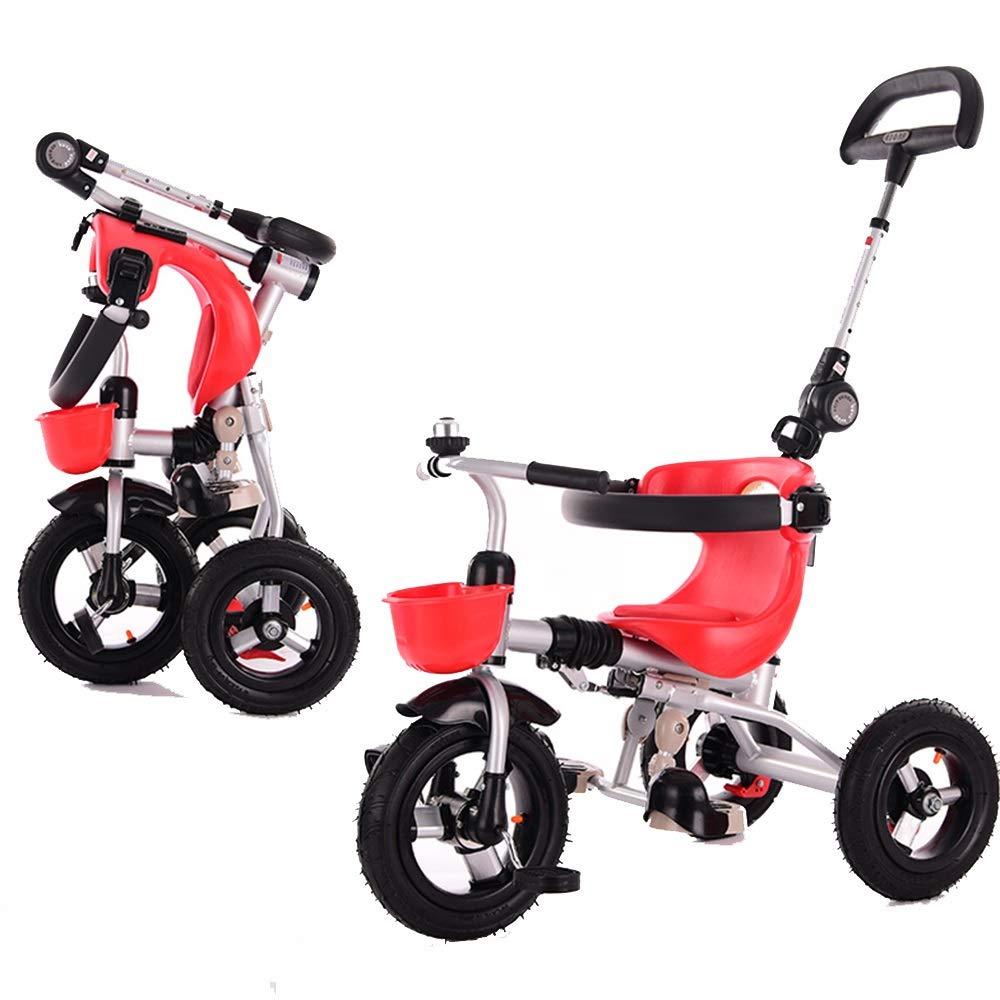 【国内発送】 Axdwfd Axdwfd 子ども用自転車 赤 キッズ三輪車折りたたみ式15年お誕生日おめでとうございますギフト三輪車チタン空ホイールプッシュハンドル付(積載重量40kg) 赤 B07PZ373CF B07PZ373CF, ふとん工房 アトリエmoon:1b4cedbb --- senas.4x4.lt