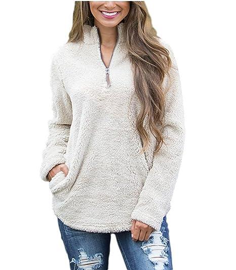 eee2b4862 Annystore Women Casual 1/4 Zip Sherpa Fleece Pullover Jacket Outerwear  Winter Coat
