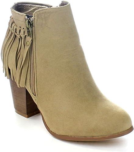 Dainzuy Womens Tassel Bootie Sueded Fringe Western Chunky Stacked High Heel Bootie Side ZipThick Short Boots