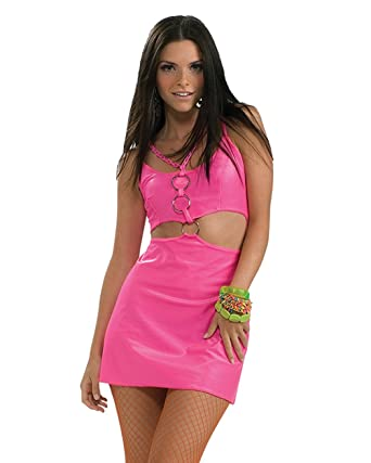 Amazon Com Sexy Hippie Costume Mod Halloween Costumes Hot Pink Mini