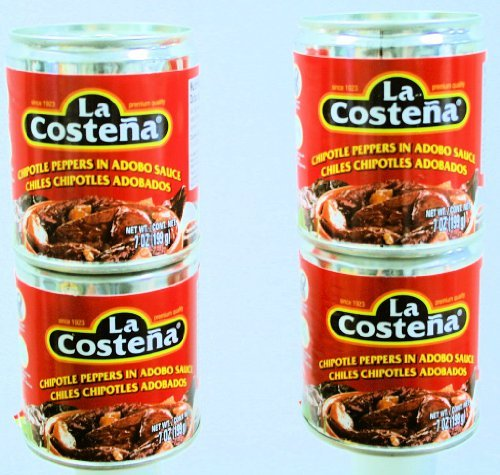 La Costena Chipotle Peppers in Adobo Sauce 7oz. Cans (4 Pack) (Chipotle Peppers In Adobo Sauce La Costena)