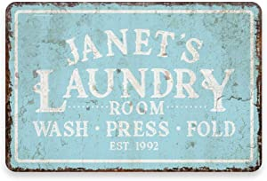 INNAPER Personalized Vintage Distressed Look Mint Laundry Wash Press Fold Metal Room Sign Customized Name Wall Art Plaque Sign Gift