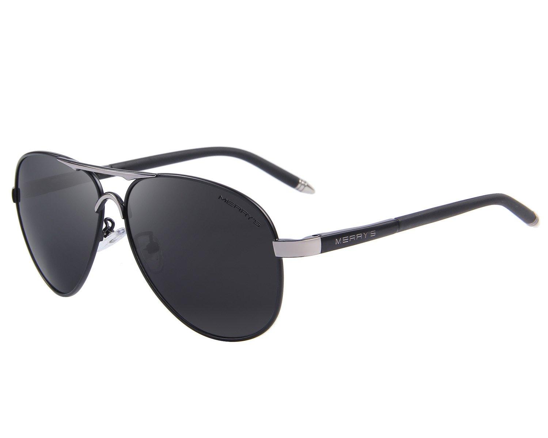 MERRY'S Men's Polarized Driving Sunglasses For Men Unbreakable Frame UV400 S8513 (Black, 61) by MERRY'S