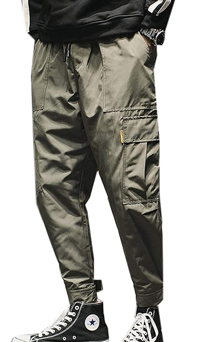 Fensajomon Mens Casual Multi Pockets Elastic Waist Plain Cargo Jogger Pants