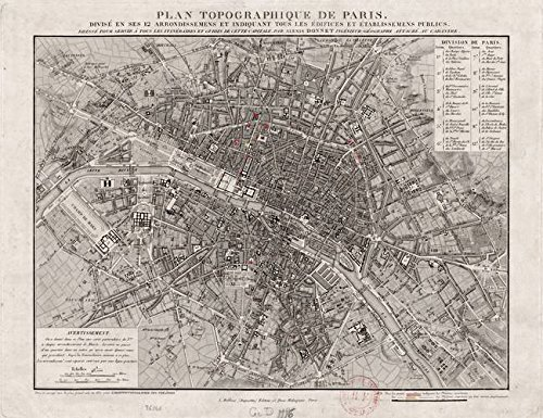 Wall Art Print entitled Vintage Map Of Paris France (1837) by Alleycatshirts @Zazzle   47 x - 1837 Map