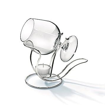 Silberner Cognacwärmer mit Drahtglas - art. 5200730 - Hoh. 20 cm ...