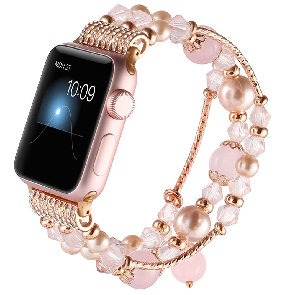 GAISHI Compatible for Apple Watch Band 38mm 40mm, Women Girl Elastic Stretch Handmade Pearl Bracelet iWatch Band for 38mm Apple Watch Series 4 Series 3 Series 2 Series 1, Pink by Gaishi