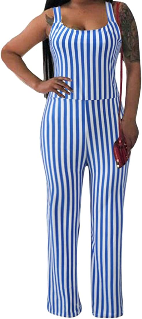 S-Fly Women Sleeveless Long Stripe Pants Strap Slim Fit Casual Jumpsuits Rompers