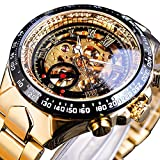 ForsiningForsining Luxury Golden Case Automatic Mechanical Skeleton Stainless Steel Men Wrist Watch