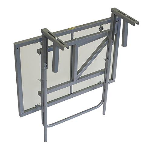 Balkonhängetisch grill  Amazon.de: Balkonhängetisch 60x40cm, Stahl silber + Sicherheitsglas ...