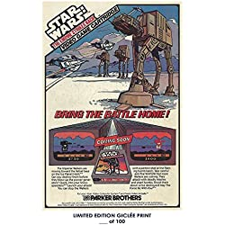 RARE POSTER thick STAR WARS: EMPIRE STRIKES BACK atari 1982 video game AD REPRINT #'d/100!! 12x18