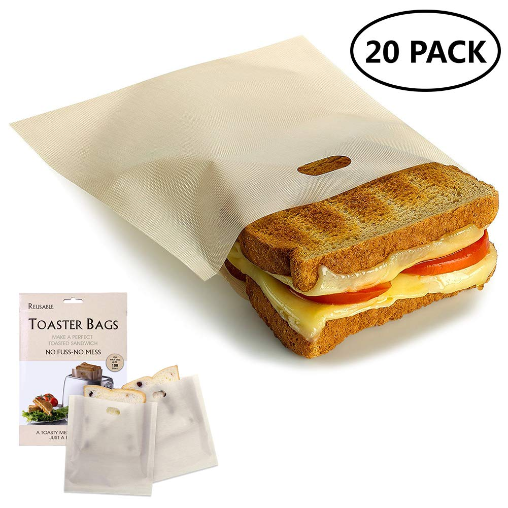 20 Pack Toaster Bags Non Stick Toaster Bags Reusable and Heat Resistant Easy to Clean Perfect for Sandwiches,Pizza,Chicken,Panini & Garlic Toast